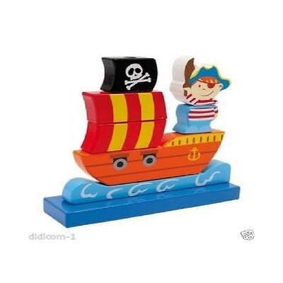 £8.90 • Buy Pirate Ship Traditional Wooden Stackable Toy ELC