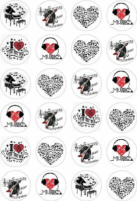 £2.65 • Buy 24 Love Music Notes Cupcake Cake Toppers Edible Rice Wafer Paper Decorations