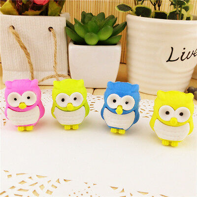 4 X Novelty Cute 3D Bird Owl Erasers Animal Rubbers Party Bag Gift • 2.18£