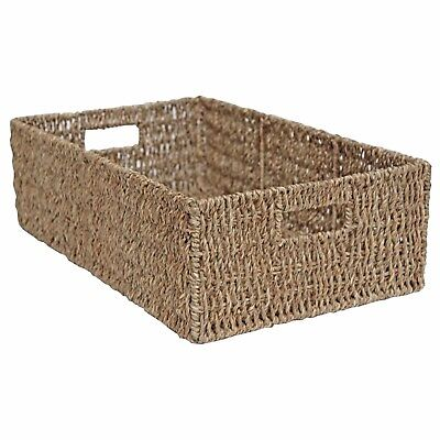 Wicker Storage Basket Long Bedroom Kitchen Office Display Natural Seagrass • 17.99£