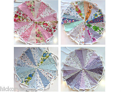 Fabric Bunting Wedding Vintage Shabby & Chic Handmade Floral 3 10 20 40ft Lace • 4.99£