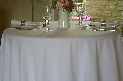 TABLECLOTH, 100% Cotton Plain Dyed Brilliant White. Square, Oblong, Oval, Round, • 23.99£