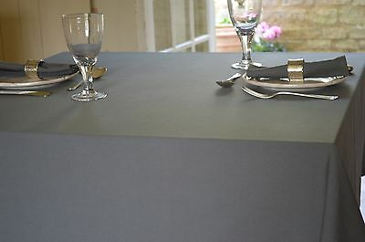 TABLECLOTH, 100% Cotton Plain Dyed Charcoal Grey.Square,oblong,round,oval,large • 17.99£