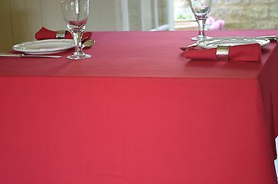 TABLECLOTH, 100% Cotton Plain Dyed Christmas Red. Square,oblong,round,oval, Xmas • 25.99£