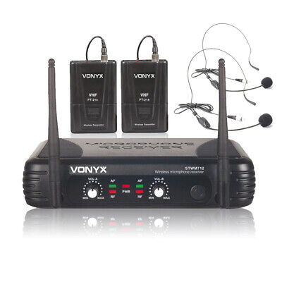 2  Channel VHF Wireless Radio Headset Fitness Dance Aerobics Microphone System • 53.99£