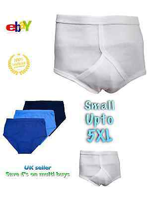 ...Men's Y-Fronts Underpants 100% Cotton Underwear S M L 2 3 4 5 XL  White Blue  • 3.59£