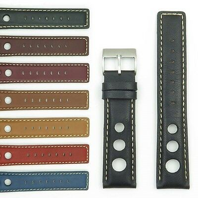 StrapsCo GT Rally Racing Watch Strap Leather Mens Band Holes 20mm 22mm 24mm • 18.40£