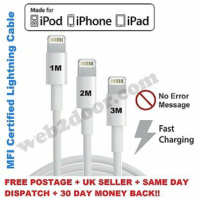 AU10.86 • Buy MFI USB Lightning Charger Cable Fits For IPhone 5 6 6s 7 Plus 1M / 2M / 3M