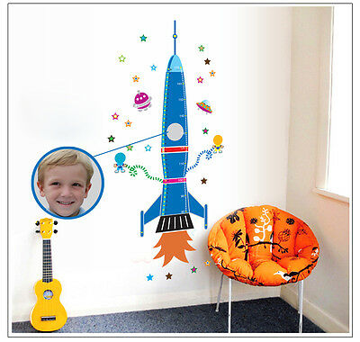 Spaceship Rocket Wall Sticker Height Chart Wall Decal Kids Space Stars  UK • 7.99£