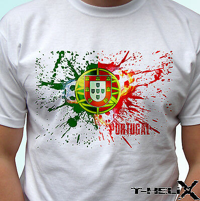 Portugal Football Flag - White T Shirt Top Design - Mens Womens Kids Baby Sizes • 9.99£