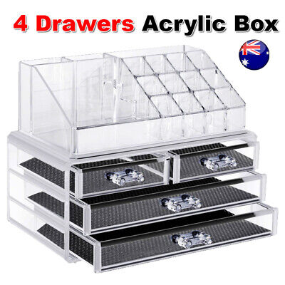 AU18.99 • Buy Cosmetic 4 Drawer Clear Acrylic Box Organizer Storage Jewellery Makeup Holder