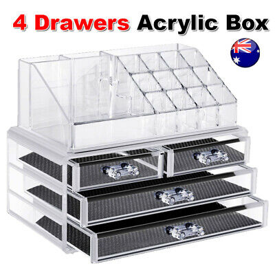 AU18.85 • Buy Cosmetic 4 Drawer Clear Acrylic Box Organizer Storage Jewellery Makeup Holder