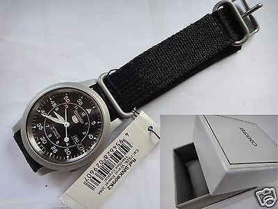 $ CDN181.01 • Buy SEIKO 5 SNK809K2 AUTOMATIC Military 37mm Black Canvas Band Day-Date With BOX