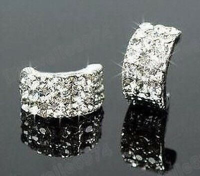CRYSTAL Rhinestone HUGGIE Half Hoop STUD EARRINGS Curved Studs DIAMANTE Silver • 2.88£
