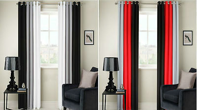 Ring Top Fully Lined 3 Tone 160gsm Ready Made Pair Of Eyelet Curtains Free P&p!! • 31.95£