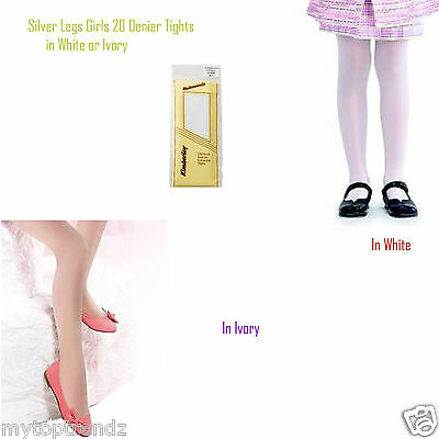 £3.95 • Buy Kids Girls Sheer Plain Tights Bridesmaid & Special Occasion White/ Ivory Tights