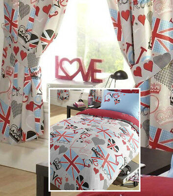 Princess Love Union Jack Double Duvet With Matching Curtains • 24.95£