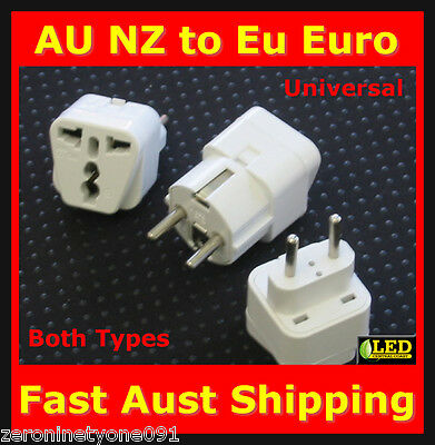 AU15.77 • Buy AU  AUS To IRAN  EU Power Plug Travel Adapter Converter Both Types