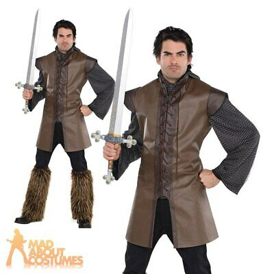 Adult Medieval Warrior Tunic Costume Mens Viking Fancy Dress Outfit New • 13.99£