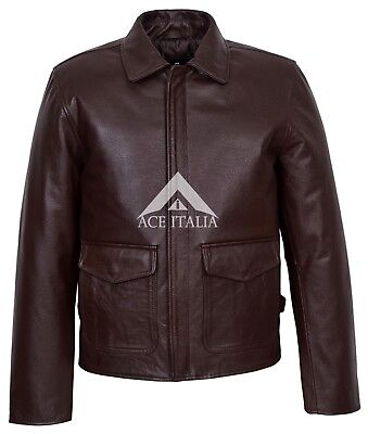 Harrison Ford Indiana Jones Men's Real Leather Brown Film Movie Star Jacket • 120£