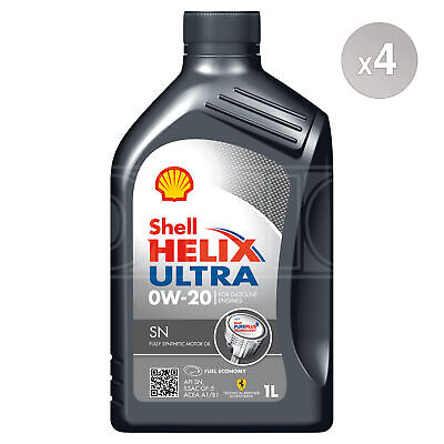Shell Helix Ultra SN 0W-20 0W20 Fully Synthetic Car Engine Oil - 4 X 1 Litres 4L • 52.95£