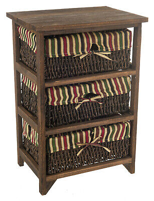 Wicker Basket Storage Unit Bedside Table Cabinet Chest Drawer Maize Shabby Chic  • 44.95£