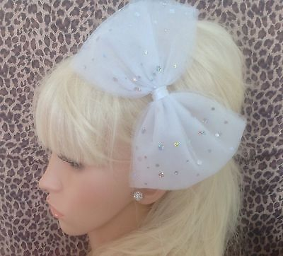 £3.99 • Buy BIG SPARKLE WHITE BOW TULLE TUTU NET ALICE HAIR HEAD BAND 80s PARTY FANCY DRESS