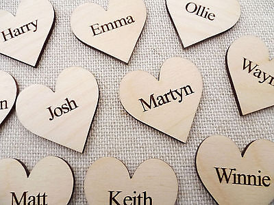 £3.85 • Buy Wooden Personalised Hearts For Family Tree Wedding Guestbook Hearts Family Name
