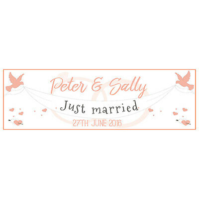 2 PERSONALISED 800mm X 297mm JUST MARRIED WEDDING BANNERS • 3.99£