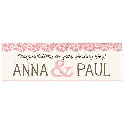 2 PERSONALISED 800mm X 297mm WEDDING BANNERS • 3.99£