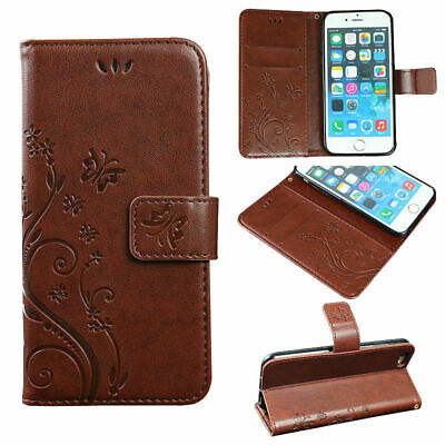 Phone Case For IPhone Samsung S5 S6 Edge S7 PU Faux Leather Wallet Flip Flower • 3.49£