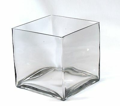 £24 • Buy Clear Large Square Glass Vase Cube - 8 Inch - 8  X 8  X 8  Oversize Centerpiece
