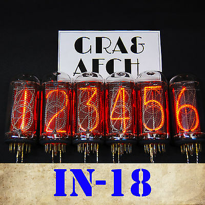 In-18 Nixie Tubes For Nixie Clock [matching Set] New Tested Same Date [6 Pcs] • 715.53£