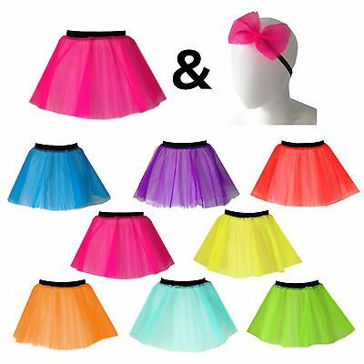 Ladies TUTU & HAIR BOW 80s Neon Costume HEN PARTY OUTFIT Fancy Dress Party Skirt • 6.99£