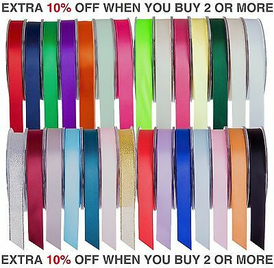 Quality Reels Double Sided Satin Ribbon 20/50 Metre Width 6,10,15,25&38mm Crafts • 4.29£