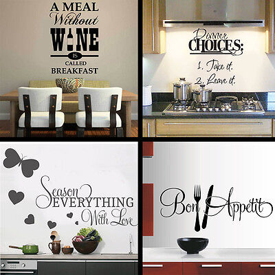 Kitchen Wall Stickers 4 Designs Wall Art Quote Decal Vinyl Transfare • 6.99£