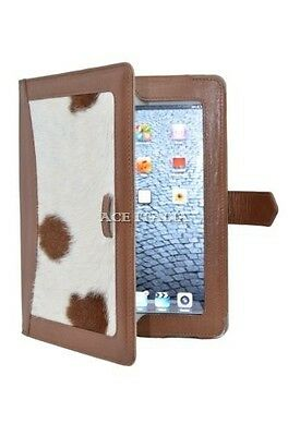 $35.41 • Buy IPAD 2 3 & 4 Tan Cow Skin Fur Luxury Real Genuine Leather Cover Case Stand