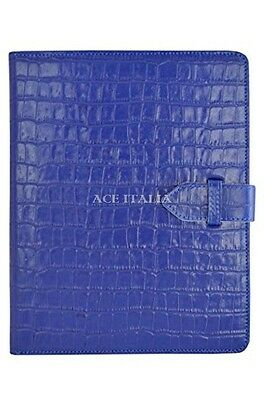 $35.41 • Buy IPAD 2 3 & 4 Blue Croc Print Luxury Real Genuine Leather Cover Case Stand