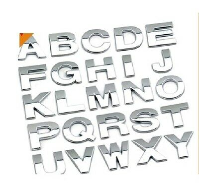 25mm 1  Inch Chrome 3D Self-adhesive Letter Number Car Boot Door Sticker Auto • 1.49£