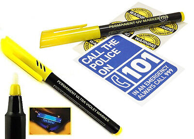 Permanent Ultra Violet Security Marker Pen Invisible UV Ink + Warning Stickers • 2.49£
