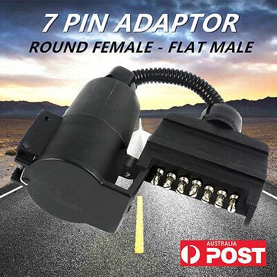AU27.69 • Buy 7 Pin Trailer Adaptor Round Female Socket To Flat Male Plug For Caravan Boat