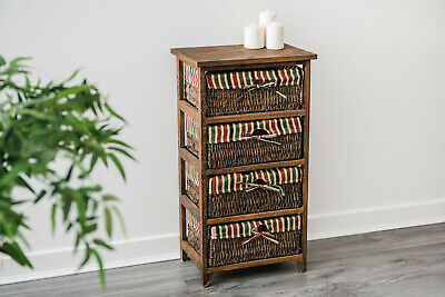 Wicker Cabinet Maize Chest Basket Retro Wooden Basket Unit Bedside Drawer  • 39.95£