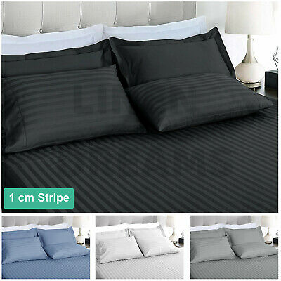AU38.80 • Buy 1000TC Striped Microfibre Fitted Flat Sheet Set Or Doona Quilt Cover All Size