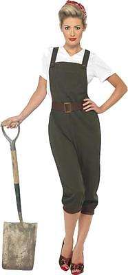 Adult Ladies 1940's Wartime Fancy Dress WW2 L& Girl Costume Complete Outfit • 33.49£
