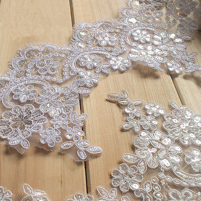£4.99 • Buy Bridal Dress Lace Trim Embroidered Sequin Ribbon Wedding Costume Blossom Edging