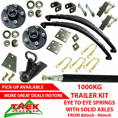 AU290 • Buy DIY SINGLE AXLE TRAILER KIT. 1000KG Solid Axle Kit, Eye To Eye Springs 63-79