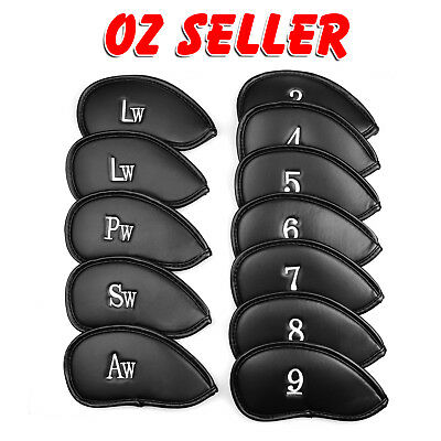 AU18.50 • Buy 12 PCS PU Leather Head Cover Golf Iron Club Putter Headcover 3-SW Set Black AU
