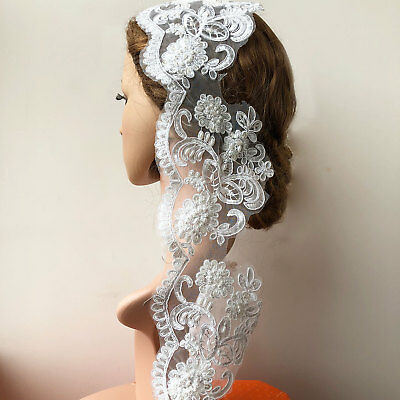 £5.99 • Buy Beaded Bridal Evening Dress Veiling Lace Embroidery Costume Ribbon Floral Edging