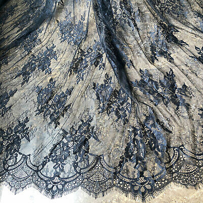 £17.99 • Buy Black Chantilly Costume Lace Fabric Bridal Dress Wedding Gown Veiling 300cm Long