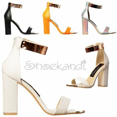 Womens Low Mid Block Heel Strappy Peep Toe Cuff High Back Party Stilettos Sandal • 24.99£